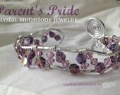 MOTHER's Day -- PARENTS PRIDE Custom Created 2pc wire wrapped crystal birthstone set