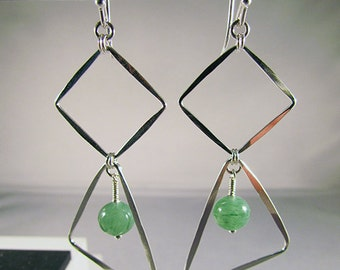 square and triangle geometric earrings with green adventurine stone