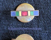 WWI US VICTORY Medal lapel brass enamel rainbow metal ribbon pre-WW2 1930s