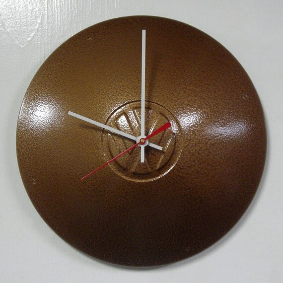 VW Bus Wall Clock - Volkswagen Ghia Hubcap Clock - Hammered Copper Clock