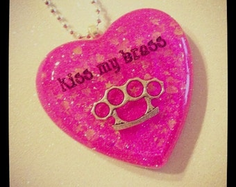 Kiss My Brass Knuckles Necklace