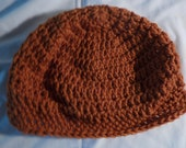 Rust Adult Beanie - Crocheted Hat - Rust Unisex Beanie - Winter Adult Beanie- Hand Crocheted Hat
