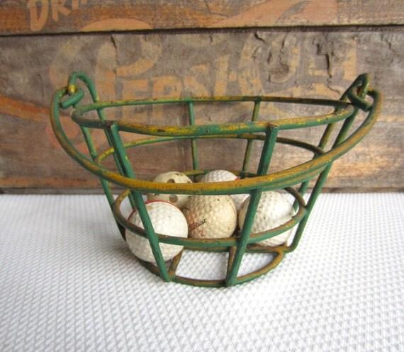 Viintage Metal Golf Ball Basket