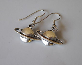 Saturn Earrings- Silver Planet Earrings, Saturn Dangle Earrings, Silver Charm Earrings
