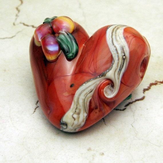 Lampwork Glass Heart Bead, Organic Heart Focal Bead Burnt Orange Iridescent Flowers SRA