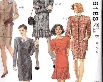 Jacket Dress DRESSES 6183 McCALLs Miss 8 10 12  Easy Sewing Pattern Misses uncut pattern