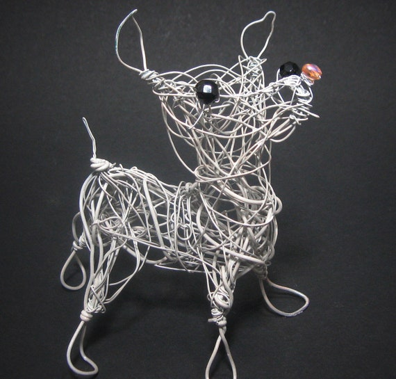 Chihuahua dog wire sculpture for Dog wire art