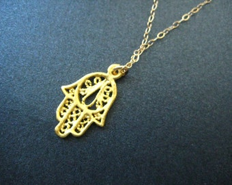 Gold plated Fatima, Hamsa hand necklace series 3 (protection against evil eye), layered, bridesmaid, graduation, birthday