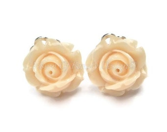 Pale Peach Rose Spring Flower Clip On Earrings