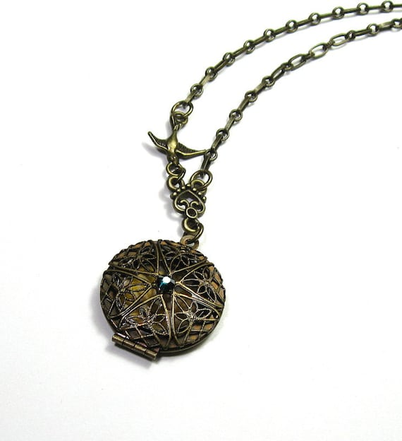 Teal, Brass, Vintage Style Locket Necklace