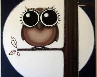 oWL SOOOOOOO HiGH - 24x24 original painting on canvas, FREE SHIPPING, owl art, owl wall art, owl decor, owl in tree