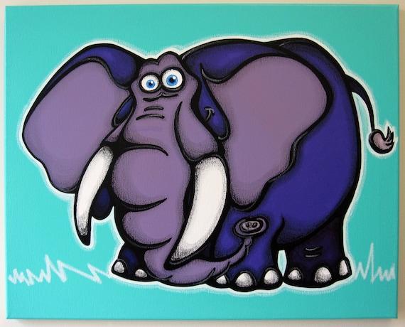 pURpLE eLePHaNT - 16x20 original painting on canvas, elephant art, elephant painting, elephant wall art, elephant room decor