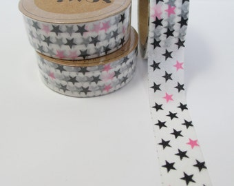 Washi Tape Black and Pink Star