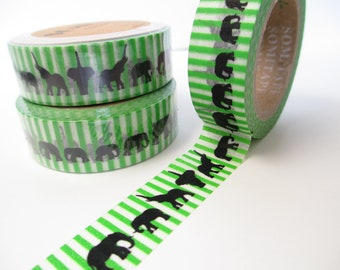 Washi Tape Elephants on Green Stripes