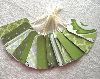 SALE - 36 WEDDING Wish Tree Tags- Escort Cards - Blossom Song - Green  Shades- Last Ones