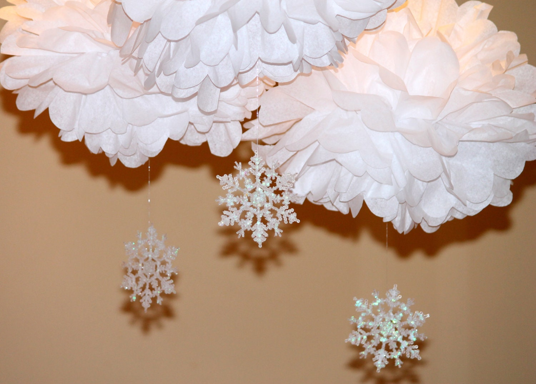 Hanging Pom Pom Decorations Snowflake Pom Pom Kit Set Of Three Baby Shower First
