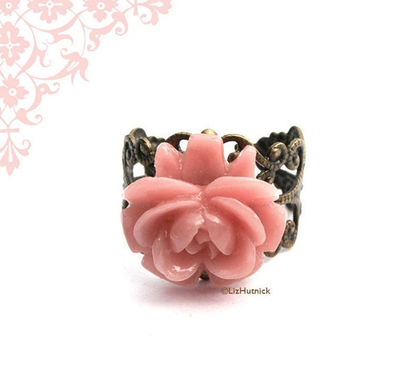 Dusty Pink Rose Ring. Adjustable Ring