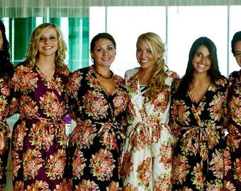 Bridesmaids Robes Kimono Crossover Robe Spa Wrap Perfect bridesmaids gift, getting ready robes, Bridal shower party favors, Wedding photos