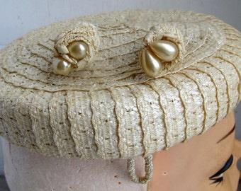 Vintage 1940s Woven w 2 Hat Pins Fascinator Tilt Topper