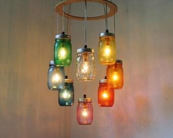 RAINBOW Heart-Shaped Mason Jar Chandelier - Rustic Hanging Pendant Lighting Fixture - Direct Hardwire - Modern Home BootsNGus Lamp Design