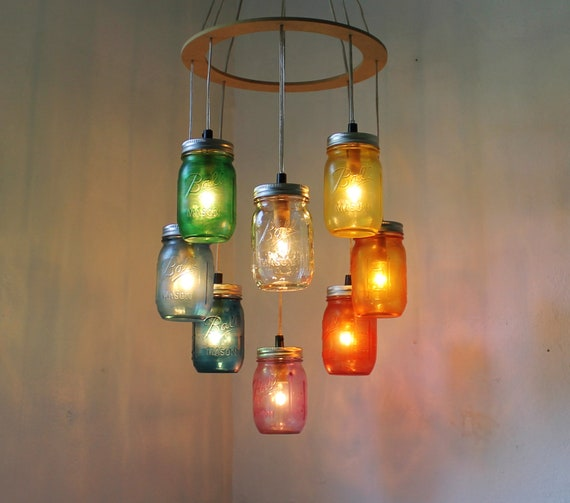 RAINBOW Heart-Shaped Mason Jar Chandelier Rustic Hanging