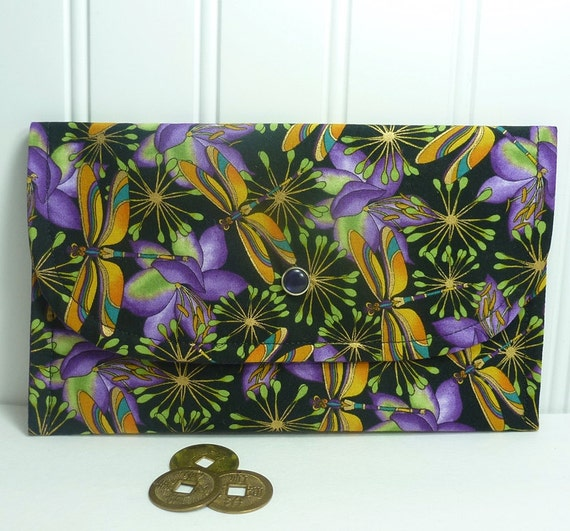 Dragonfly Wallet lightweight for cards cash coupons purple gold dragonflies card case