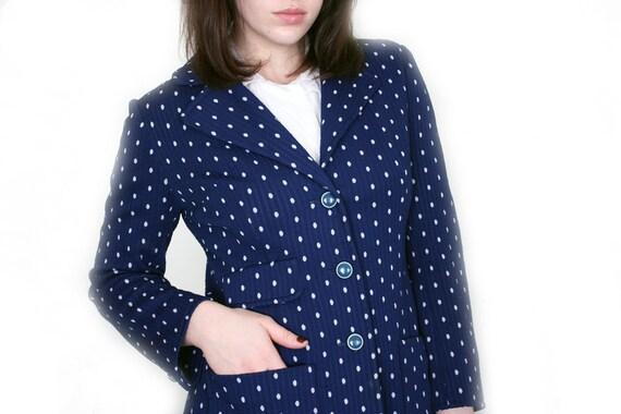 SALE --- Vintage Polka Dot Jacket - 70s Navy Blue Dotted Blazer - M