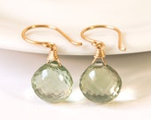 SALE LOVE20 COUPON Green Amethyst Earrings February Birthstone Gemstone Drop Earrings