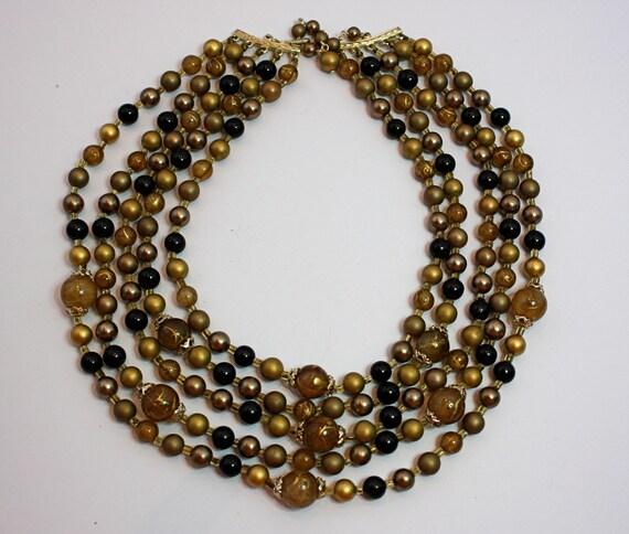 Choker Necklace Vintage 50s 5 Strand Gold Black Fancy Bead  Necklace Japan