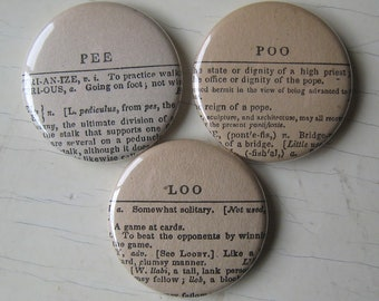 Pee Poo and Loo Antique Dictionary Magnet Set of 3