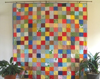 Patchwork Quilt--Picnic Size--81X81--Classic Americana--all cotton blanket
