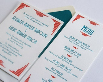 Custom Letterpress Wedding Invitations - Art Deco 1920s