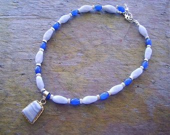 Blue Lace Agate Necklace with Sterling Silver and Sapphire Blue Faceted Agate Beads - Lacy Blue Stones