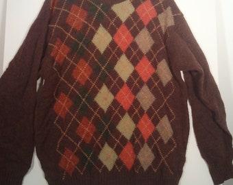 80s wooly argyle sweater jumper pullover MADE IN SCOTLAND xl xxl Cyrillus brown 46 48 boho grunge