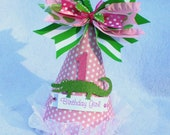 Preppy Pink and Green Alligator Birthday Party Hat