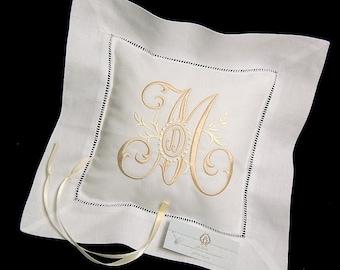 Ring Bearer Pillow, Irish Linen Ring Bearer Pillow, Monogrammed Ring Bearer Pillow, Style 5204