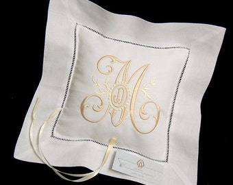 Ring Bearer Pillow, Irish Linen Ring Bearer Pillow, Monogrammed Wedding Ring Pillow, Style 5204