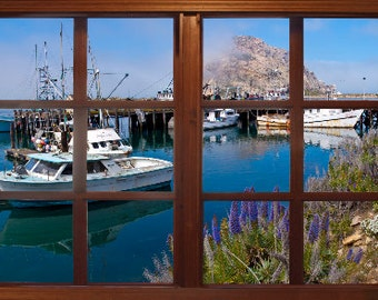 Wall mural window self adhesive california open window for Bay view wall mural