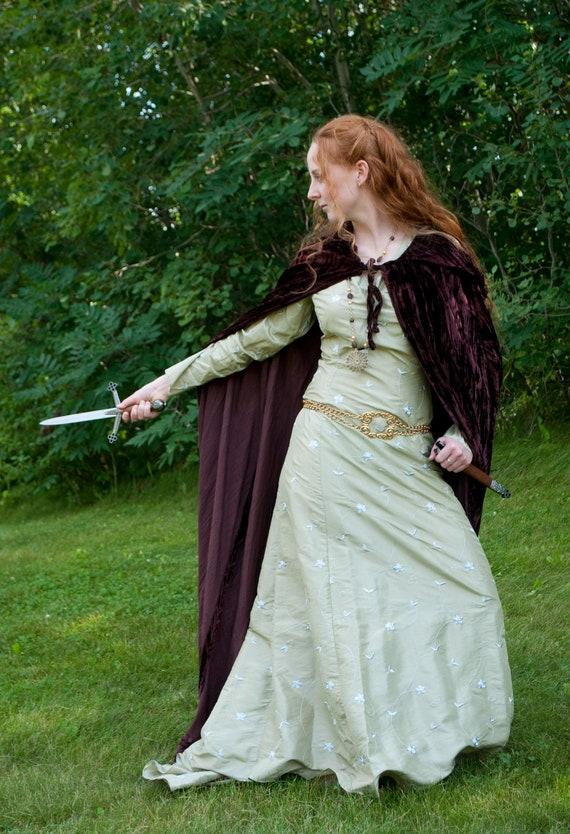 Elven Lotr Hobbit Medieval Victorian Cape Hooded Cloak Capelet