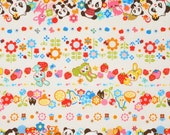 NEW, Japanese, Kawaii Animal Stripes in Ivory, FAT QUARTER