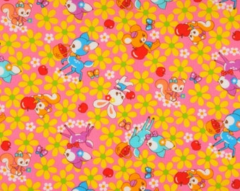 NEW, Japanese, Animal Friends and Apples in Pink, 1/2 Yard