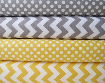 Yellow and Gray Small Chevrons and Dots by Riley Blake Designs Fabric Bundle  - 4 Half Yards - Total 2 Yards