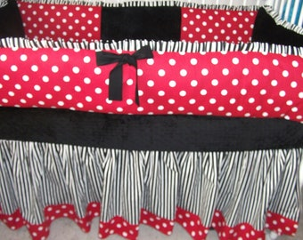Lady Bug red black white polka dot Bumper Pad Baby Crib Set  DEPOSIT Down payment Only read details