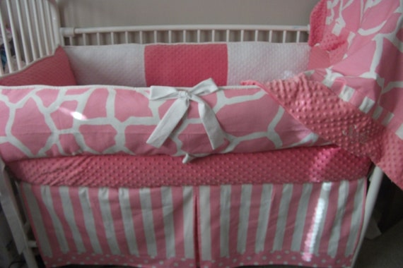 Pink And White Giraffe Girl Baby Bedding Crib Set Deposit