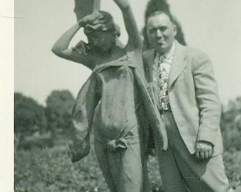Fun Day Man In Suit With Garden Statue Vintage Black White Photo Photograph