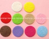 100 Felt Circle Dots Appliques...Double Sized...10 Colors...15mm...EA255-1