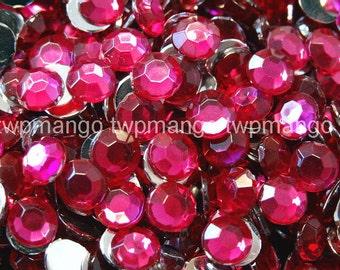 1000 3mm Acrylic Round Crystal Rhinestones Flat Back SS12 Fuchsia N66-9