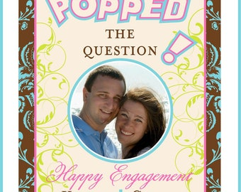 Engagement Gifts - Custom Photo Wine Labels for the Bride and Groom to Be