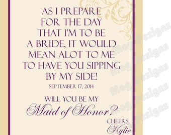 Bridesmaid Modern Wine Label - Bridal Party Gifts