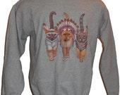 Native Kitty Cat Sweatshirt S   M    L  or  XL  Gray or Black